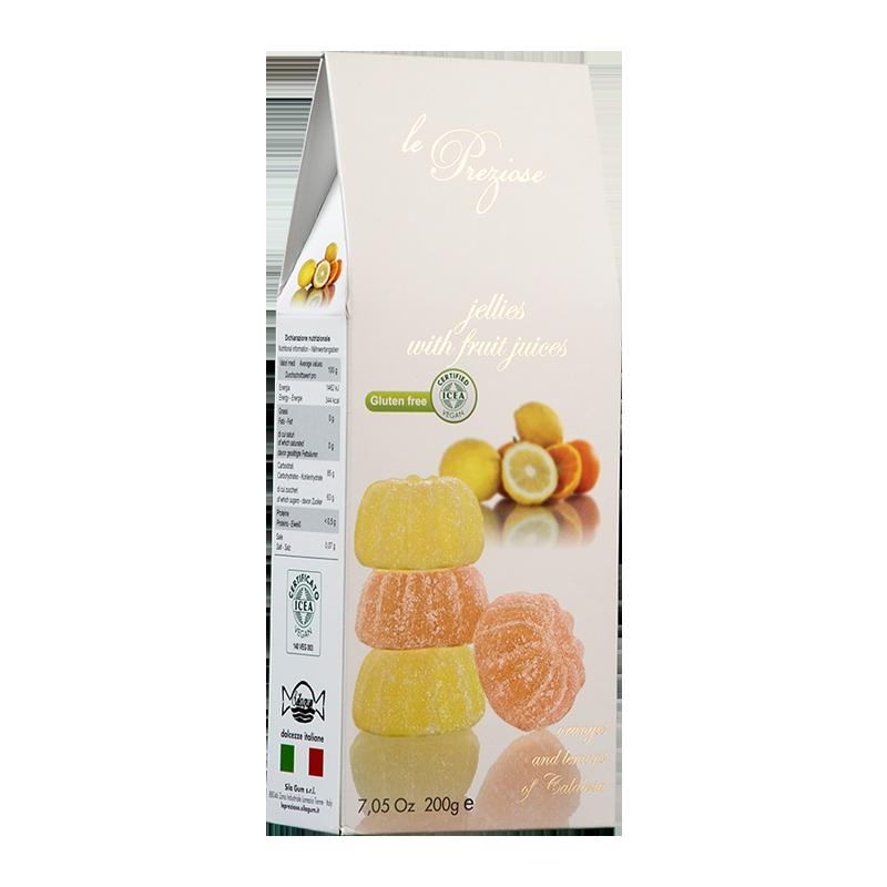 jelly sweets with fruit juice orange & lemon LE PREZIOSE 200g Sweets, cookies