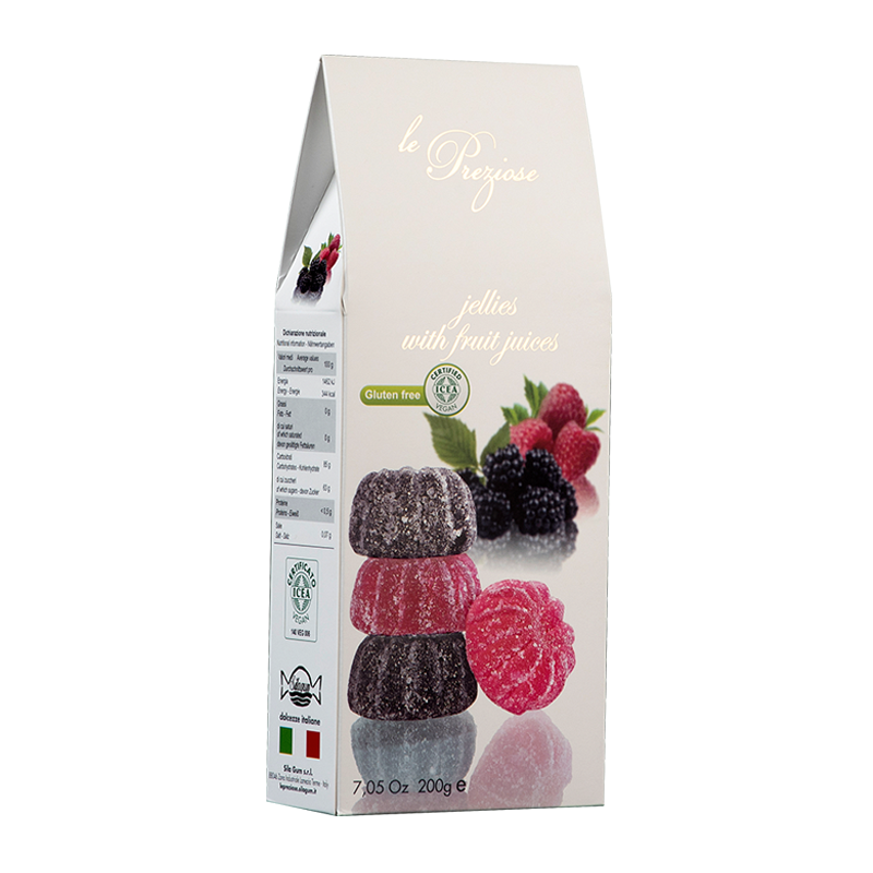 Jelly Sweets With Fruit Juice blackberry & raspberry LE PREZIOSE 200g Sweets, cookies