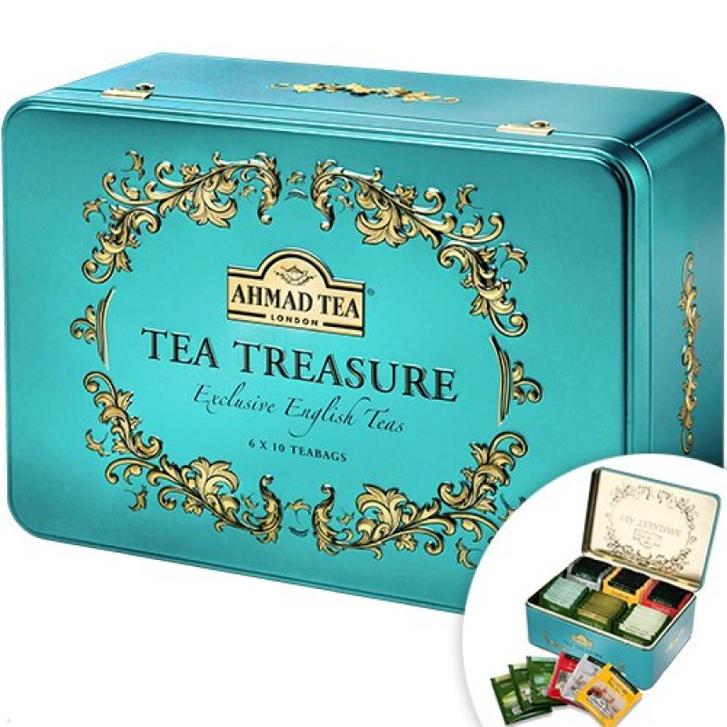 Tea Treasure metal box AHMAD 120g Gift idea