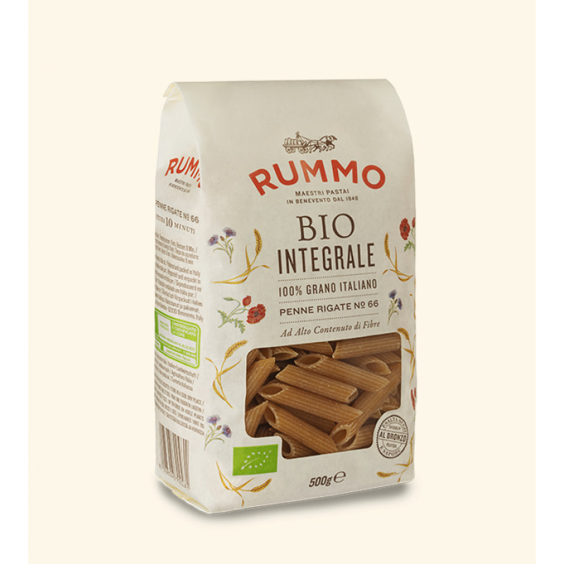 pasta BIO INTEGRALE PENNE RIGATE Nº66 RUMMO 500g BIO products