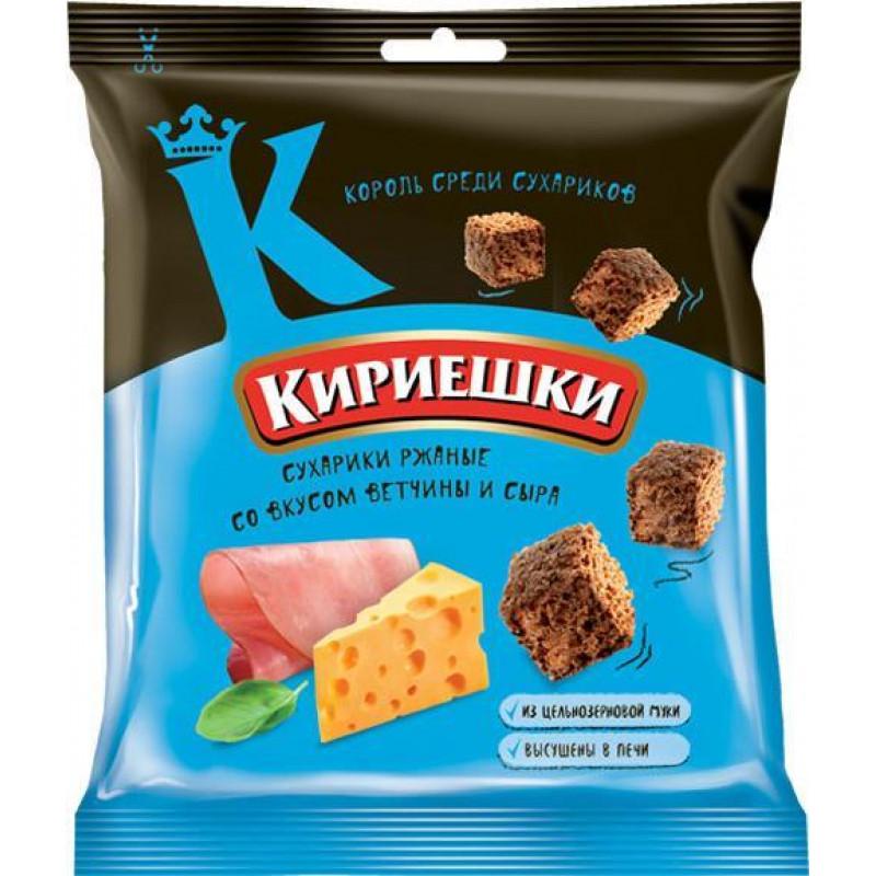 """Rye croutons Ham and cheese flavoured """"Kirieshki"""" 40g Snacks, chips"""