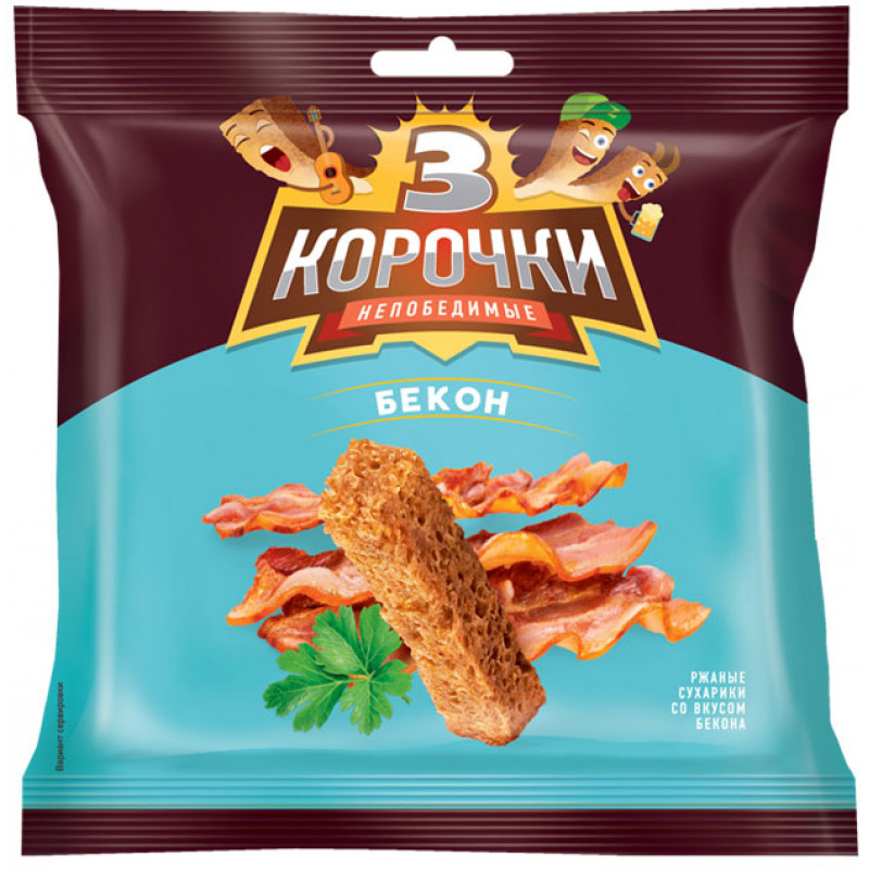 Сухарики со вкусом бекона «3 Корочки» 100г Закуски, чипсы