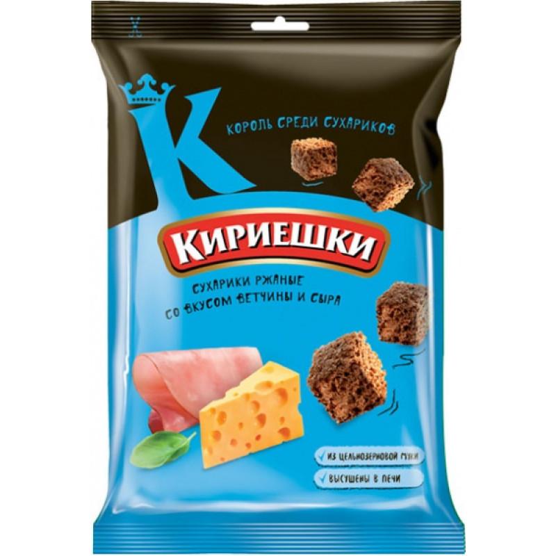 """Rye croutons Ham and cheese flavoured """"Kirieshki"""" 100g Snacks, chips"""