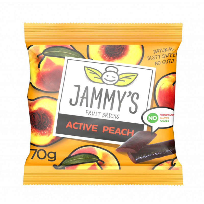 peach taste pastilles ACTIVE PEACH JAMMY'S 70g Sweets, cookies