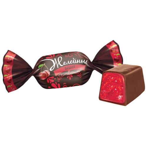 Cherry-flavored jelly candies in chocolate 500g