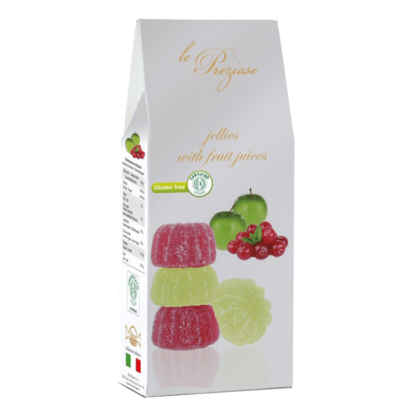 jelly sweets with fruit juice green apple and cranberry LE PREZIOSE 200g Sweets, cookies