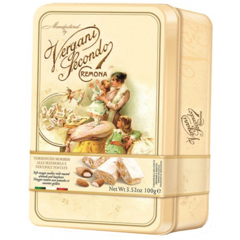 Soft nougat candy with roasted almonds and hazelnuts VERGANI 100g Sweets, cookies