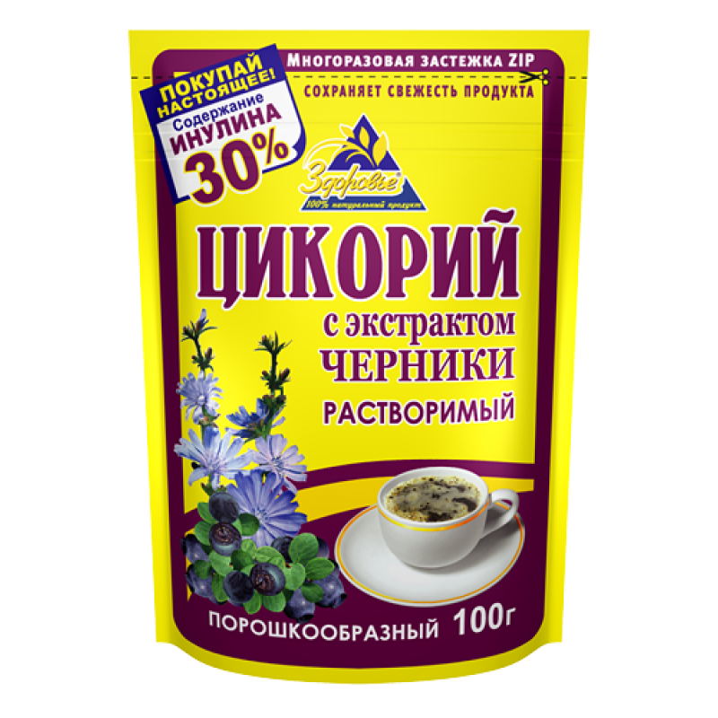 """Chicory with blueberries """"Zdorovie"""" 100g Tea and coffee"""