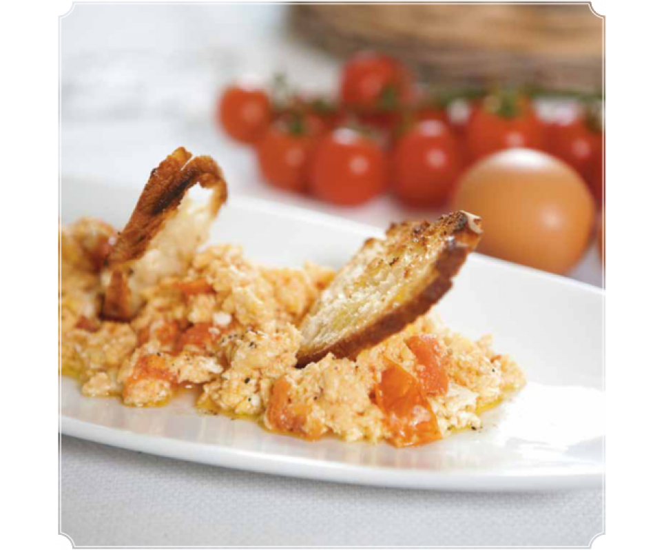 Scrambled Eggs with Tomatoes and Bread Sails